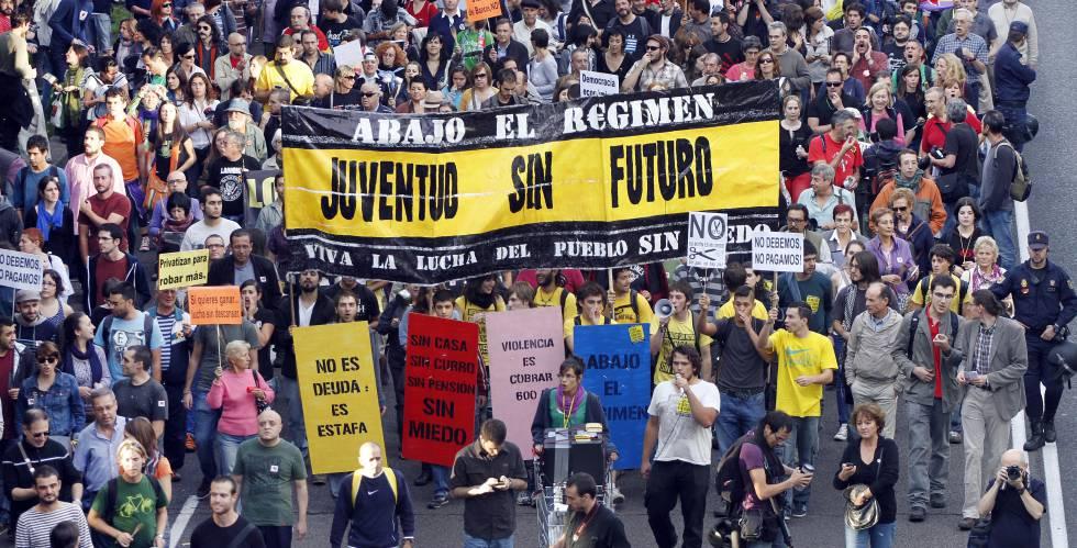 Una manifestación del colectivo Juventud sin futuro en 2011 en Madrid