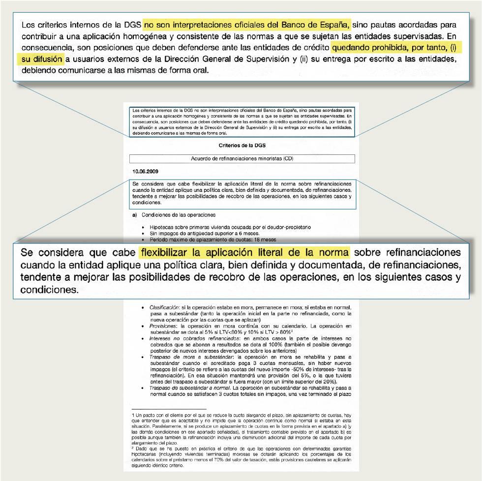 La supervisión del Banco de España alteró normas al estallar la crisis