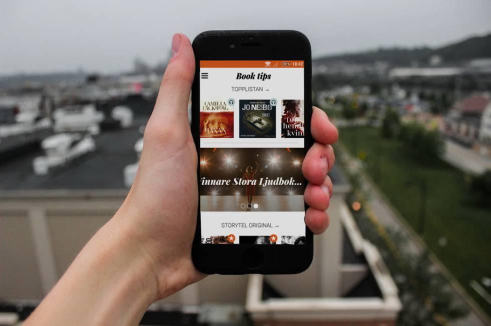Visualización de la aplicación de Storytel en un dispositivo móvil
