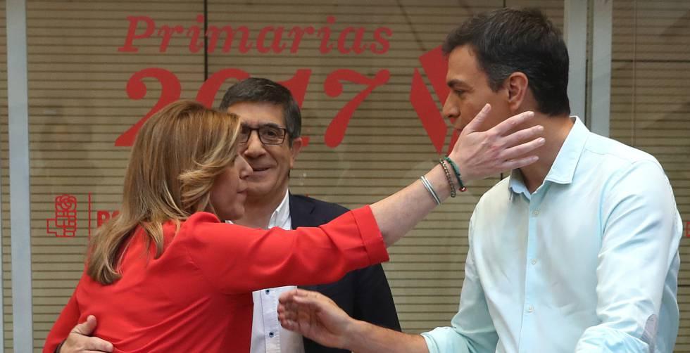 Susana Díaz, Patxi López y Pedro Sánchez, en el debate de aspirantes a liderar el PSOE el 15 de mayo