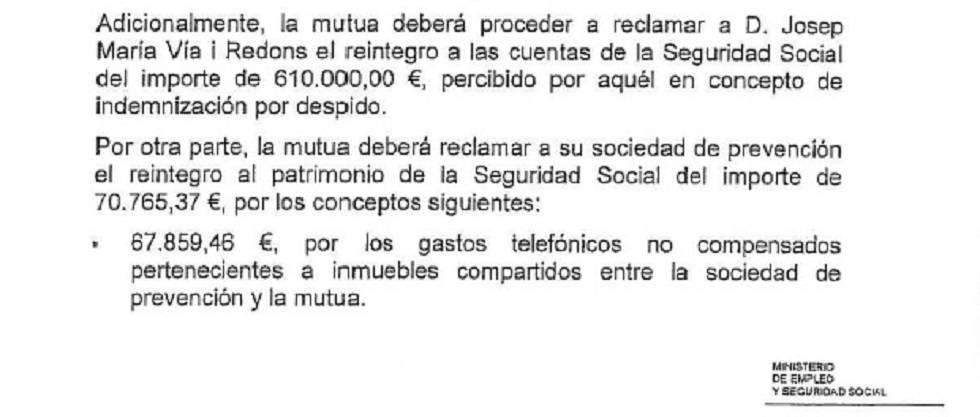 Extracto de la resolución de la Seguridad Social que reclama a la mutua que devuelva la indemnización abonada a Via.