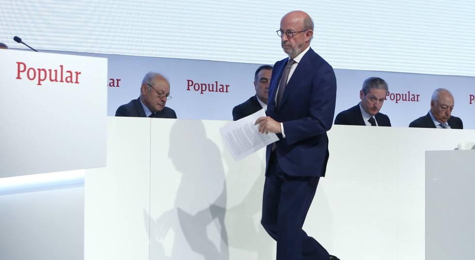 Emilio Saracho, expresidente del Banco Popular, durante la última Junta de Accionistas de la entidad.