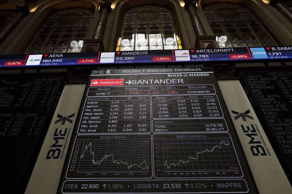 Los paneles informativos de la Bolsa de Madrid
