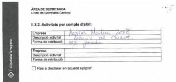 Extracto de la declaración de actividad de Joan Piñol en la Diputación de Tarragona, donde cobra por dedicación exclusiva.