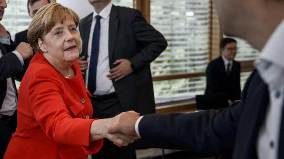 Angela Merkel, canciller alemana, este lunes en Berlín.