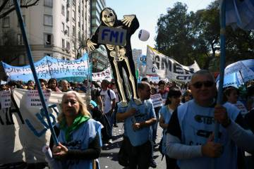 Protesta de los profesores universitarios en Buenos Aires.
