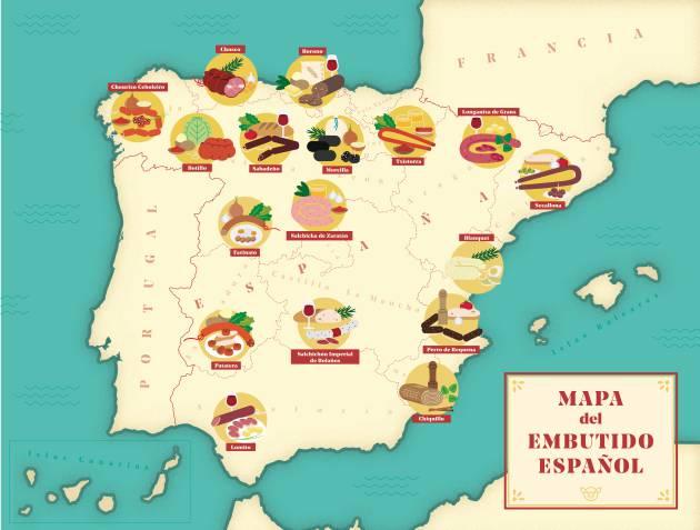 El mapa del embutido español