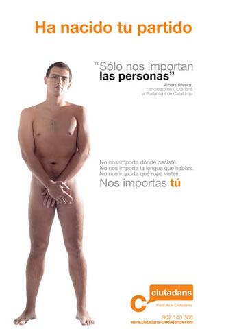 Cartel electoral presentado por Ciutadans-Partit de la Ciutadania, en el que aparece su candidato, Albert Rivera, desnudo.