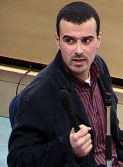 Mohamed Bouharrat, uno de los imputados en el proceso del 11-M, durante su declaración.