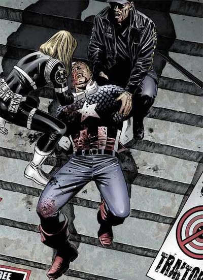 Viñeta que muestra la muerte del Capitán América a las puertas de un juzgado