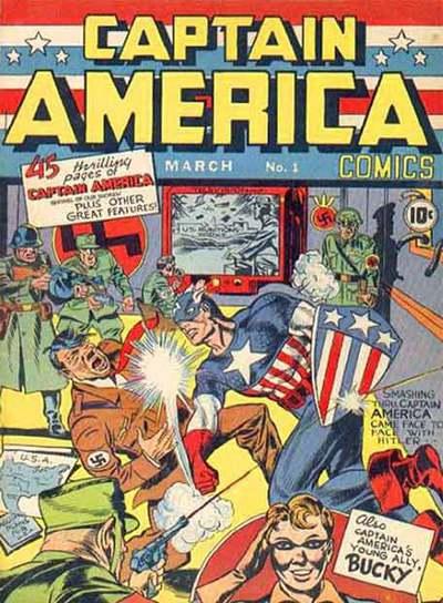 El superhéroe golpea a Hitler en la portada del primer número de la saga, aparecido en 1941.
