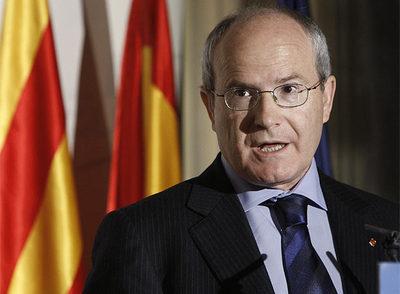 El presidente de la Generalitat catalana, José Montilla, durante su intervención hoy en Madrid en un desayuno informativo.