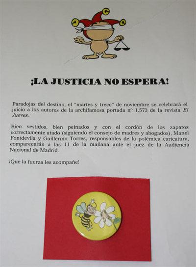 Fotografía de la nota de prensa enviada por la revista satírica 'El Jueves'