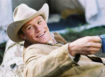 El actor Heath Ledger, en el filme  Brokeback Mountain .