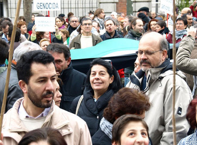 Inés Sabanés, en la protesta frente a la Embajada de Israel en Madrid