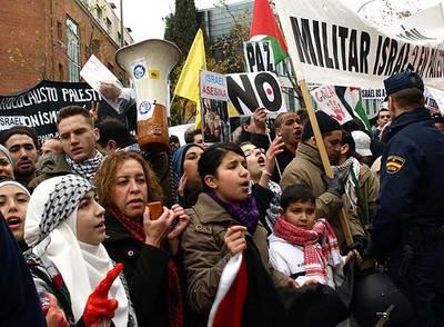 Protestas frente a la embajada israelí en Madrid