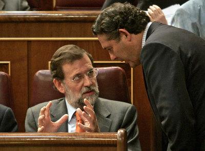 Mariano Rajoy y José María Michavila, en el Congreso de los Diputados