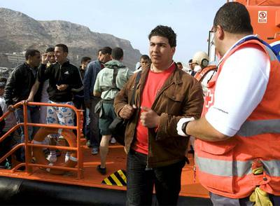 Inmigrantes interceptados por la Guardia Civil al sur de Cabo de Gata.