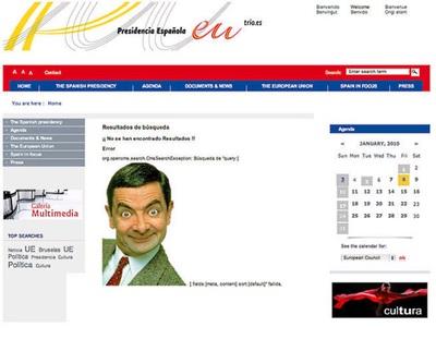 Captura de la web de la presidencia española de la UE poco después de haber sido hackeada.