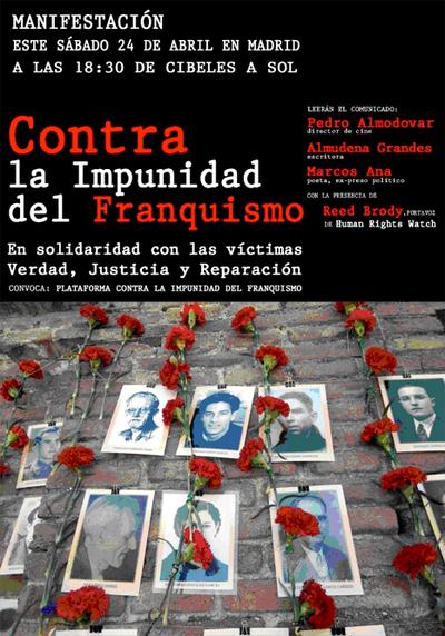Cartel de la manifestación convocada por artistas españoles para el sábado 24 de abril en apoyo al magistrado.