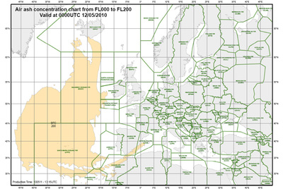Previsión elaborada por Eurocontrol sobre la evolución de la nube de ceniza volcánica para el miércoles a las dos de la madrugada (hora peninsular española) entre los 0 y 20.000 pies de altitud (6.000 metros).