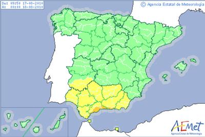 Las provincias de Málaga y Granada se encuentran en alerta naranja por riesgo de fuertes lluvias. Ceuta, Melilla, Badajoz, y seis provincias andaluzas están bajo alerta amarilla.