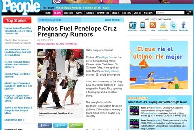 Página de la revista 'People' en la que se puede ver a Pe con Johnny Depp.