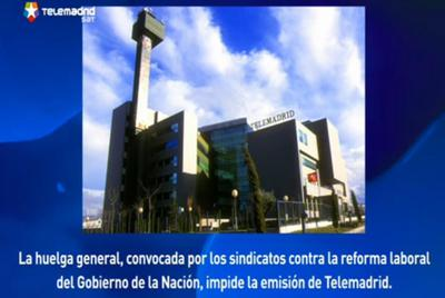 Pantalla de Telemadrid avisando del corte de la emisión por la huelga.