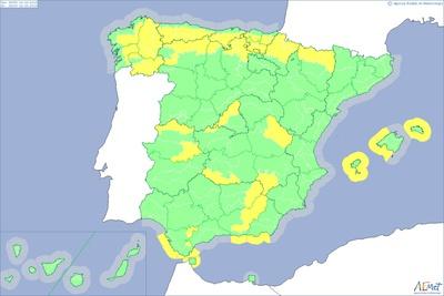 Mapa de alertas meteorológicas de hoy elaborada por la Agencia Estatal de Meteorología.