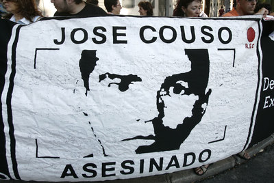 A demonstration outside the US Embassy in Madrid demanding justice for José Couso.