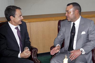 El presidente del Gobierno español, José Luis Rodríguez Zapatero, durante la entrevista celebrada con el rey de Marruecos, Mohamed VI, en la sede de Naciones Unidos en Nueva York, el pasado 20 de septiembre.