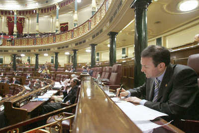 Juan José Ibarretxe, en el Congreso de los Diputados, durante el debate de su plan soberanista en 2005.