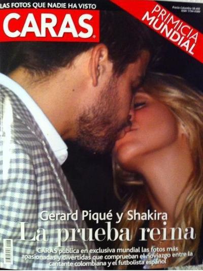Portada de la revista 'Caras' con el beso de Piqué y Shakira.