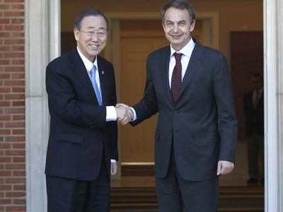 Zapatero con Ban en La Moncloa.