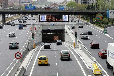 El túnel que une la M-30 con la autovía de Valencia.
