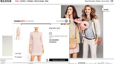 Captura de pantalla de la web de Mango con el vestido de doña Letizia.