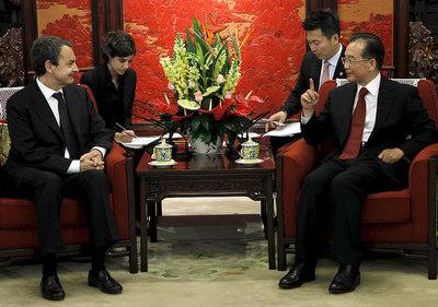 El presidente del Gobierno, José Luis Rodríguez Zapatero, se reúne con el primer ministro chino, Wen Jiabao.