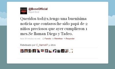 El mensaje de Twitter con el que Miguel Bosé anuncia que ha sido padre.