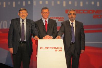 Alberto Ruiz Gallardón (PP), Jaime Lissavetzky (PSOE) y Ángel Pérez (IU), anoche.