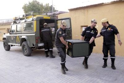 Huerto de la Rueda donde está el puesto de mando avanzado y reparto de víveres tras el terremoto en la localidad murciana de Lorca.