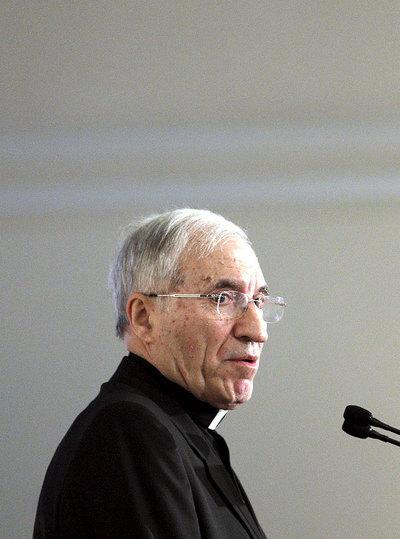 El cardenal Antonio María Rouco Varela, durante la conferencia en el Foro de la Nueva Sociedad.