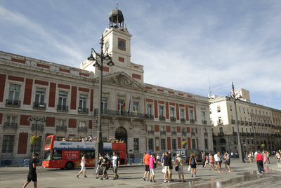 La Puerta del Sol esta mañana sin pancartas ni consignas reivindicativas que recuerden que ayer hubo una concentración.