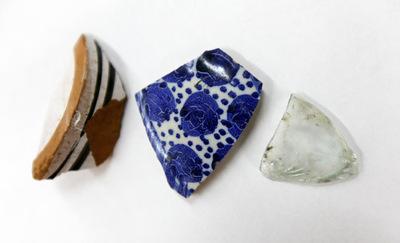 Fragmentos de porcelana de la factoría de Carlos III.