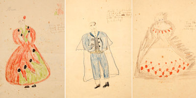 Three of Federico García Lorca's costume designs for  The Shoemaker's Prodigious Wife , which premiered in 1930.