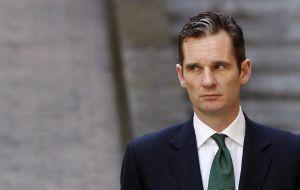 Iñaki Urdangarin returns to court after a break from questioning in Palma de Mallorca.