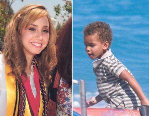 Jazmine Grace Grimaldi, hija de Alberto de Mónaco, en 2010. A la derecha, Alexandre Coste, también hijo del príncipe, en 2007.