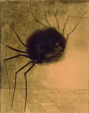 'The Smiling Spider' (1881), a charcoal drawing by Odilon Redon.