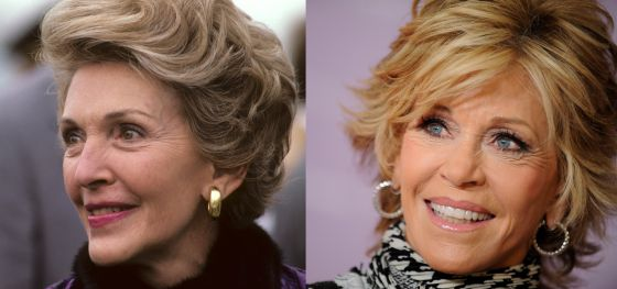 Nancy Reagan en 1980 y una imagen actual de Jane Fonda.