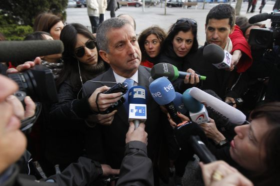 Alejandro Alcalde speaks to the press outside court on Friday.
