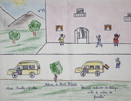The drawing made by 12-year-old María in 1937.